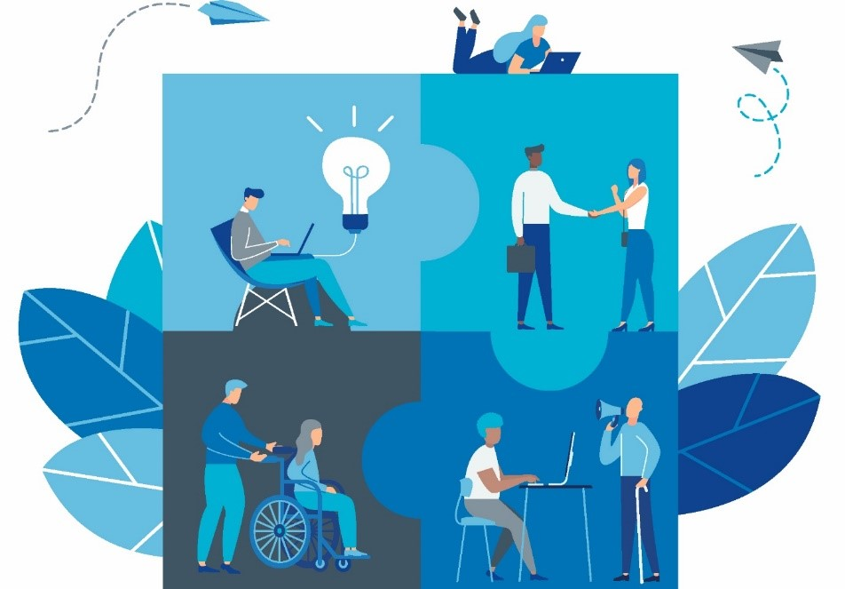 Illustration four puzzle pieces together forming a square. There are multiple illustrations of people performing everyday activities located inside each piece). One is on their laptop and having an idea symbolised as a lightbulb. Two are shaking hands. One wheelchair user is being pushed someone. Another individual is sat at a desk with a laptop with another person in front of them with crutches and a megaphone.